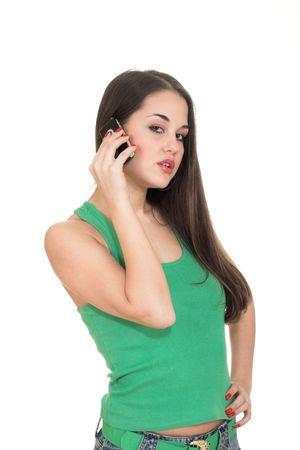 eye service: Attractive girl speaking by cellular phone with her boyfriend.