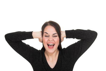 unhappiness: Terreble noise. Stock Photo