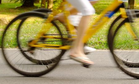 Speed by bicycle. Stock Photo