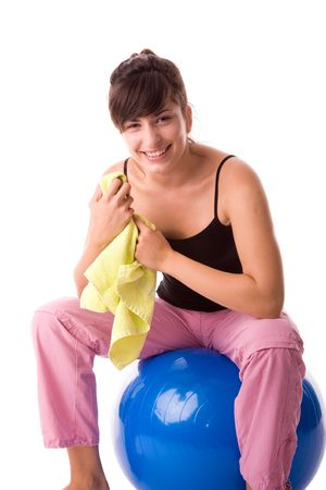 Fitness girl rest after exercising on pilates ball. Stock Photo - 1780079