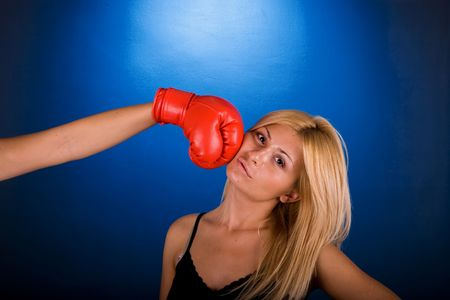 Woman getting punched by another person Stock Photo - 2017129