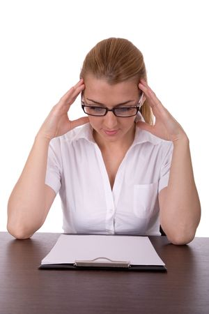 Business woman read contract. Stock Photo - 2198614