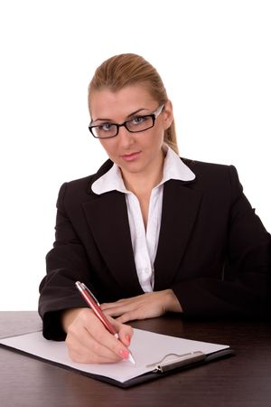 Business woman sign a contract. Stock Photo - 2198610