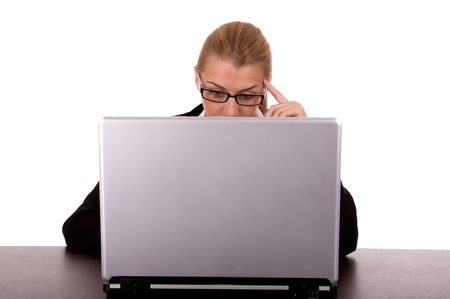 Business woman working by laptop. Stock Photo - 2198607