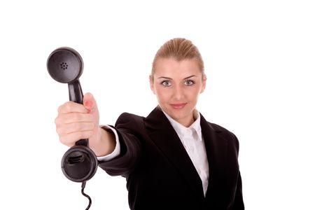 Businesswoman hold phone.