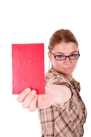 intelligently: Businesswoman show red carton.