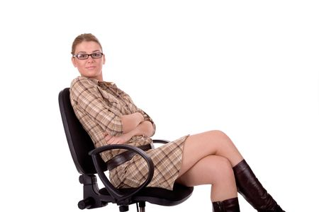 intelligently: Businesswoman sit on office chair.