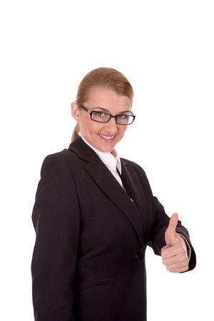 intelligently: Succesful businesswoman show thumb up.