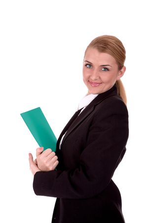 intelligently: Friendly businesswoman hold a document over white. Stock Photo