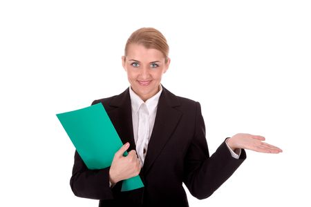 intelligently: Friendly businesswoman hold a document and show blank palm. Stock Photo