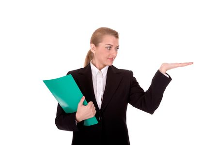 intelligently: Friendly businesswoman hold a document and look to blank palm. Stock Photo