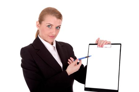 intelligently: Businesswoman show blank clipboard for your text. Stock Photo