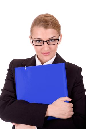 Friendly businesswoman hold a document over white. Stock Photo - 2432756