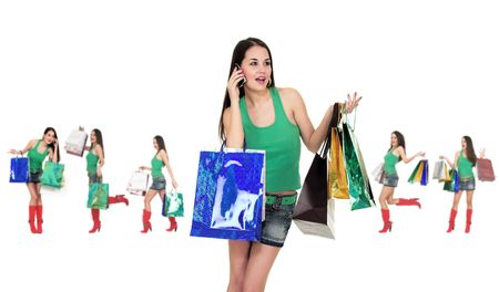 Shopping girl pose over white background. Stock Photo - 2574667