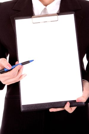 intelligently: Businesswoman show blank paper for your text.