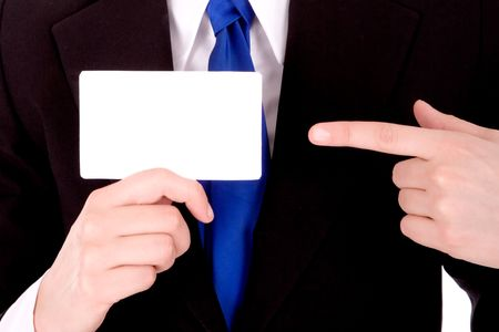 Businesswoman show blank business card for your message. Stock Photo