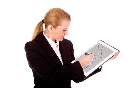 intelligently: Businesswoman drawing a graph. Stock Photo