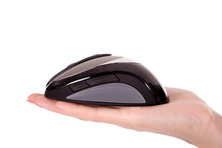 Businesswoman show wireless computer mouse in hand. photo