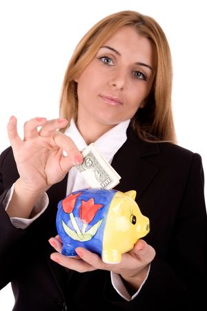 Businesswoman savings money over white background. Stock Photo - 2694408