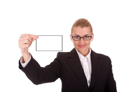 intelligently: Businesswoman show blank business card for your message. Stock Photo