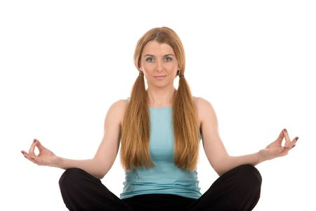 Beautiful girl relax by yoga on floor. Stock Photo - 2924242