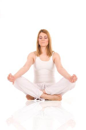 Beautiful girl relax by yoga on floor. Stock Photo - 2924201