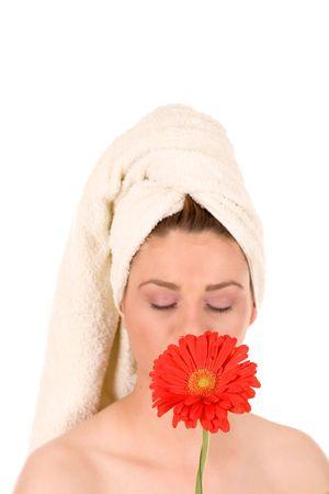 calmness: Lovely girl with red flover. Stock Photo