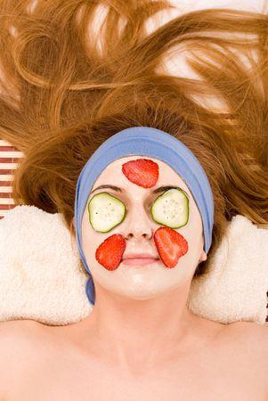 Beautiful girl with facial mask fruit. Stock Photo - 3004988
