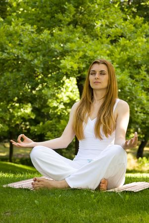 Beautiful woman practice yoga outdoors in nature environment. Stock Photo - 3138420