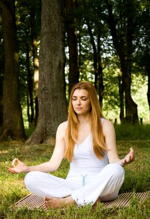 Young woman practice yoga outdoors in nature environment. Stock Photo - 3138400