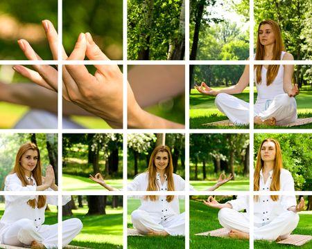 Yoga theme by beautiful girl outdoor. Stock Photo - 3357371