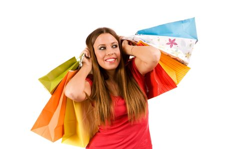 Beautiful shopping girl with bags. Stock Photo - 3720667