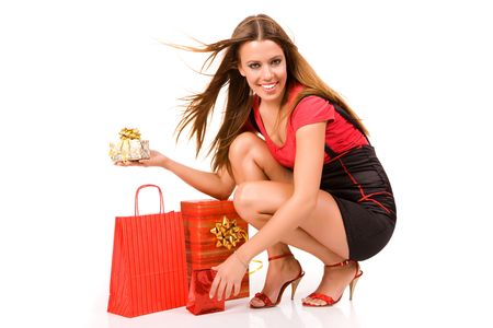 Shopping girl with gift box and bag. Stock Photo - 3720669