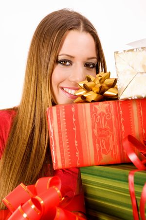 Attractive woman holding many gift boxes. Stock Photo - 3738219