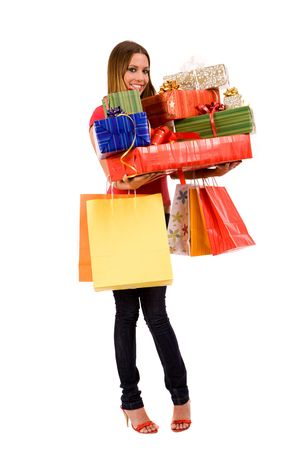 Attractive woman holding many gift boxes and bags. Stock Photo - 3738409