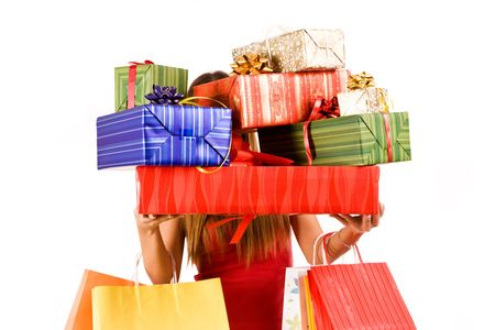 Attractive woman holding many gift boxes and bags. Stock Photo - 3738047