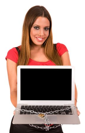 Attractive young woman holding laptop with chain lock by padlock. Internet security. Stock Photo - 3738414