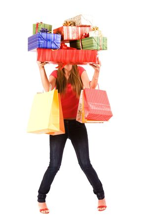 gift bag: Pretty shopping girl hold many gift boxes and bags. Stock Photo