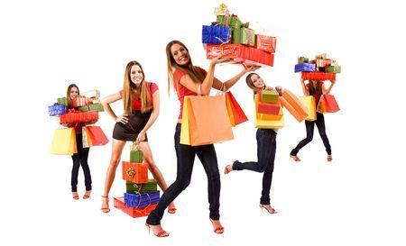 euforia: Hermosa chica compras se multiplican con coloridas bolsas y cajas de regalo.
