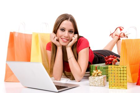 Beautiful young woman shopping over internet. Stock Photo - 3786016