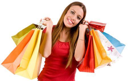 compras chica: Hermosa chica de compras con bolsas de colores.