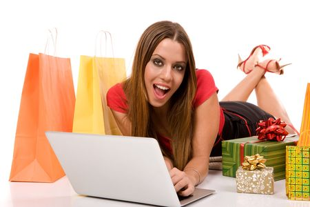 Internet shopping concept by woman purchase with laptop. photo