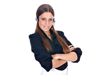Business customer support operator woman isolated on white. Stock Photo - 4047484