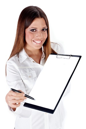 Successful businesswoman reach pen for sign document over white background. Stock Photo - 4085790