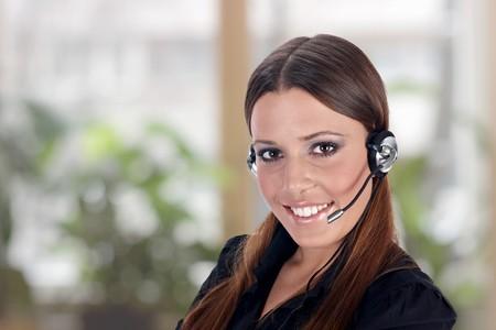 Call service business operator woman. photo