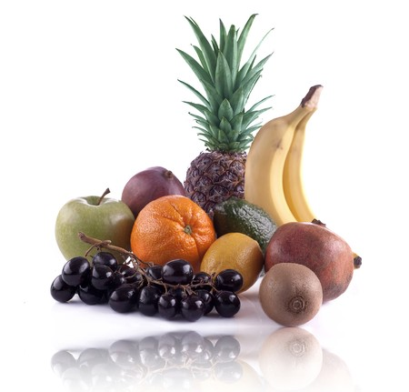 Fruit composition against white background.High detail macro. photo