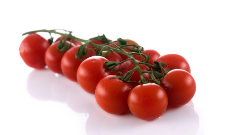 Cherry tomato bunch against white background. Very high detail texture. photo