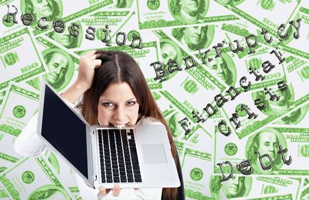 Financial crisis concept by businesswoman over dollar background. Stock Photo - 4665242