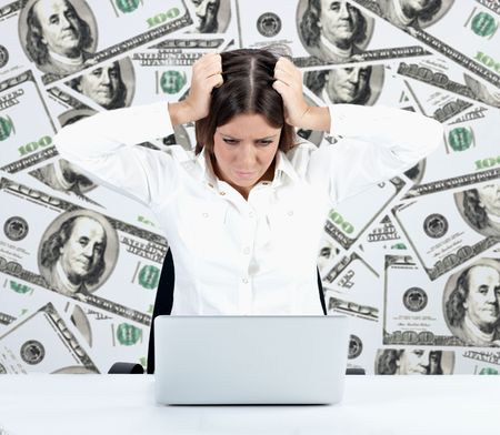 Financial crisis concept by businesswoman over dollar background. Stock Photo