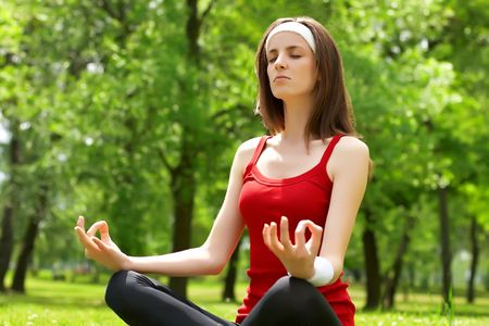 Young woman practice yoga in natural environment. Stock Photo - 4803102